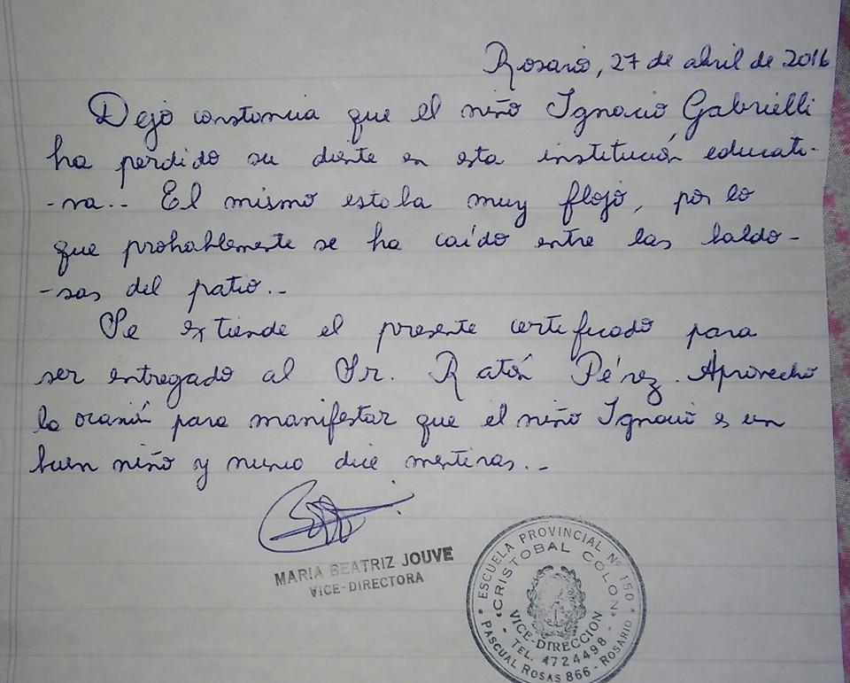 La lettera della maestra per il topino dei denti!